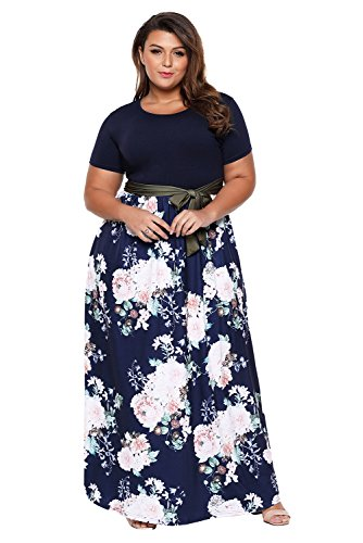 Lukis Damen Große Größen Partykleider Cocktailkleid Floral Bedruckt Sommerkleider Langes Kleid Blau Brust 108-112cm