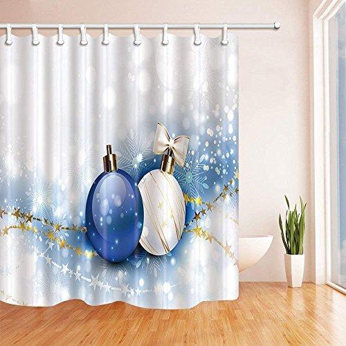 Gzhq christmas tende da doccia per bagno blu e bianco palle di natale con stelle dorate in tessuto di poliestere impermeabile bagno tenda doccia ganci inclusi, 71x,