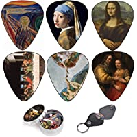Plettri Per Chitarra Cool Renaissance Art Medium 12 Pack Celluloid, Leather Keychain Pick Holder Included, Premium Gift Set For Every Artist & Guitar Player. A Most Original Christmas Gift.