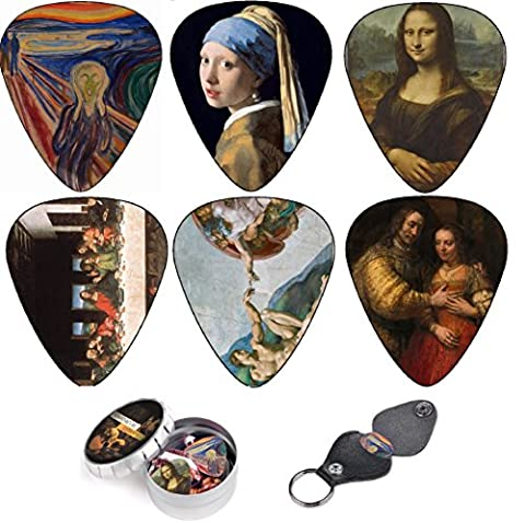 Médiators pour Guitare, Cool Renaissance Art Medium 12 Pack Celluloid, Leather Keychain Pick Holder Included, Premium Gift Set For Every Artist & Guitar Player. A Most Original Christmas Gift.