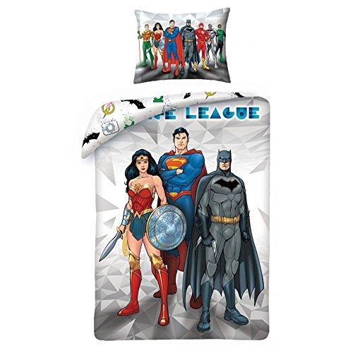 League Baumwolle (Justice League Gerechtigkeitsliga Bettwäsche Kinder Bettwäsche 140x200 cm (Oeko Tex Standard 100) Superman Batman Wonder Woman)