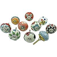 Indian ceramica-unica impresa armadi manici, set 10 pezzi da cucina pulsanti, ceramica, Multi-12, 1.5