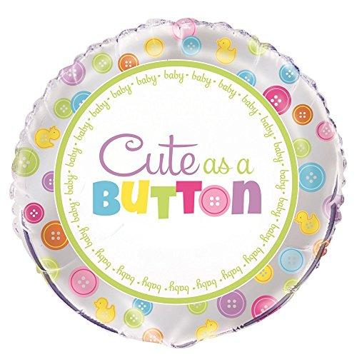 Unique Party 5396845,7cm Folie Cute As A Button Baby Dusche Ballon