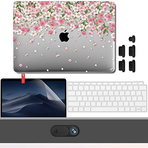 GMYLE Hülle für MacBook Air 13 Zoll A1932 2018 mit Touch-ID Schutzhülle Hartschale Cover, Privatsphäre-Webcam-Cover, Displayschutzfolie, Anti-Staub-Port-Stecker, Tastaturschutz (EU) Rosa Blüte Blumen -