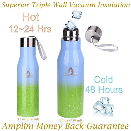 Amplim Triple Wall Vacuum Insulated Stainless Steel Sports Water Bottle. Ice Cold for 48 Hours! FDA Approved Food-Grade Materials, BPA Free, Eco-Friendly Travel Flask. 17 oz Green Blue -