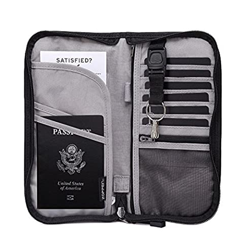 Zoppen RFID Travel Wallet & Documents Organizer Zipper Case, Family Passports Holder with Removable Wristlet Strap (Black)