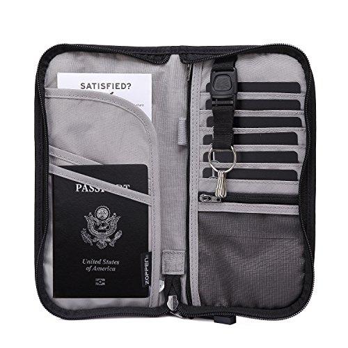 Zoppen RFID Reise-Geldbörse & Dokumenten Organizer Reißverschluss Gehäuse , Familien-Passhülle mit entfernbarem Armband-Träger, Schwarz (Wallet Zipper)