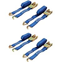 diversitywrap 4x Ratsche Gurt Tie Down 5m 25mm Eisen Griff und doppelten J Haken 800kg Gurtband–blau