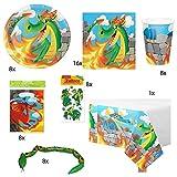 Partyset-Set Drachen für 8 Kinder // Teller, Becher, Servietten,Tüten, Tischdecke, Mitgebsel