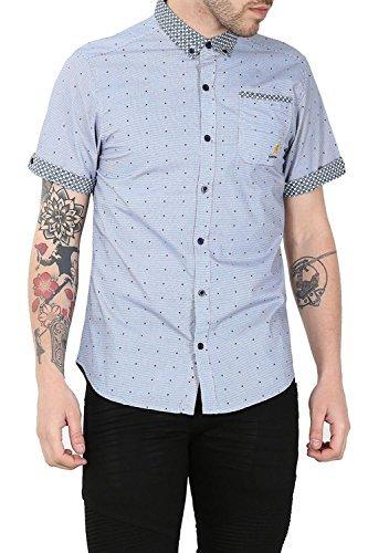 Preisvergleich Produktbild Kangol Herren Designer NAOH Gepunktet Markiert Kragen Kurzärmlig Lässig Elegant Hemd Mit Tasche - Marine,  Small