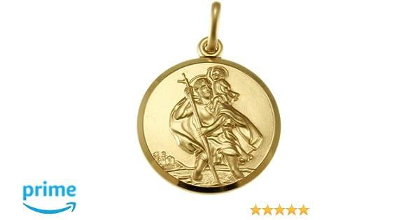 Alexander Castle 9ct Gold St Christopher Pendant Medal - 20mm - 3.7g - Includes Jewellery presentation box