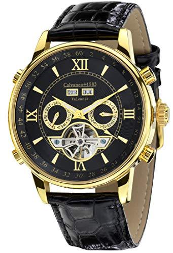 Calvaneo 13061 - Reloj, correa de cuero color negro