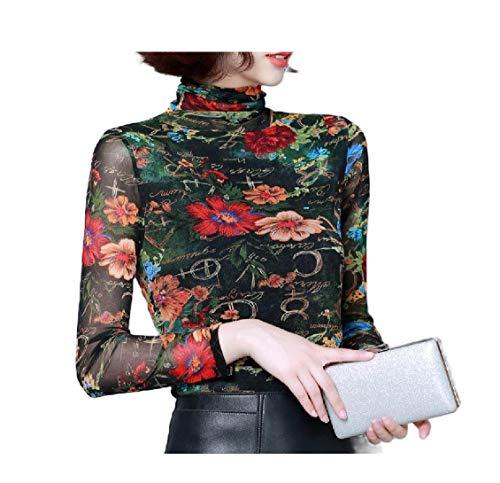 CuteRose Women's Turtleneck Print Long Plus Gauze Blouse Sleeve Size Tee Shirt AS2 S -