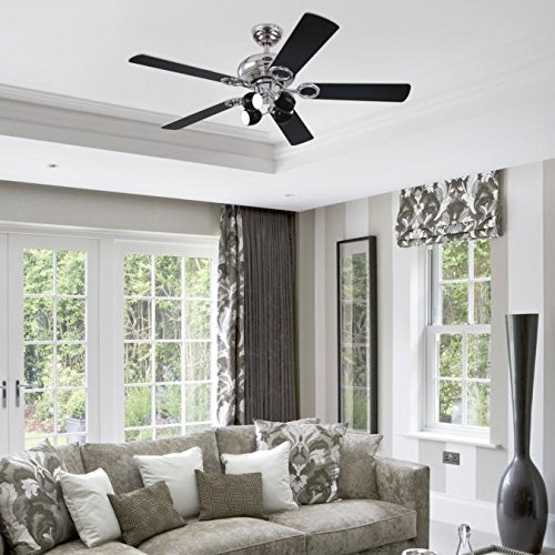 51UtQOEH8qL. SS500  - Westinghouse Ceiling Fans 78753 Helix Fusion Four-Light 132 cm Five-Blade Indoor Ceiling Fan, Chrome Finish with Opal Frosted Glass