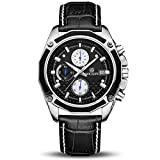Orologio Cronografo da Uomo Movimento al Quarzo Moda Sportivo Watch 30M impermeabile Elegante Regalo per Uomo (Nero)