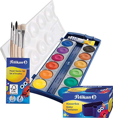 Pelikan Set DIN 5023 Deckfarbkasten K12, 12 Farben + 1 Tube Deckweiß, Schul-Standard (mit Becher + Pinsel), Blau