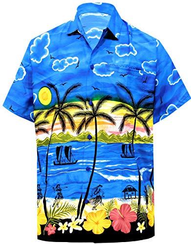 LA LEELA Beach Hemd männer Hawaiihemd Kurzarm Button Down Kragen Fronttasche Beach Strand Hemd Manner Urlaub Casual Herren Aloha 4XL Blau_W387 - Button-down-vintage-shorts