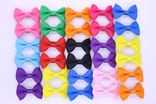 20pcs/10pairs New Dog Hair Clips Small Bowknot Pet Grooming Products Mix Colors Solid Pattern Pet Hair Bows Dog Accessories - Solid Clip