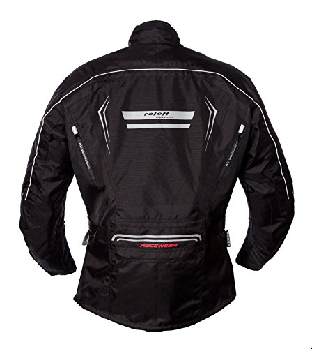 Schwarze Motorradjacke mit Protektoren, Belüftungssystem, Klimamembrane und herausnehmbarem Thermofutter - 2