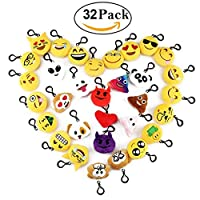 Cusfull 32 Pack Mini Emoji Keychain Lovely Emoji Plush Pillows Emoticon Key Ring Soft Party Bag Filler Toy Gift for Kids (32 pack)