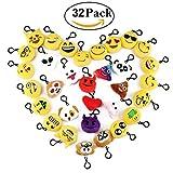 Cusfull Lot de 32 Mini Emoji Porte-clés en Peluche Mignon Émoticône Emoji pour...