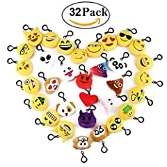 Idea Regalo - Cusfull Mini Emoji Portachiavi pezzi /Decorazioni/Faccine Portachiavi Emoticon Peluche per Zaino, Borsa, Perfetto Regalo per Bambini, Natale, Compleanni (32pcs)