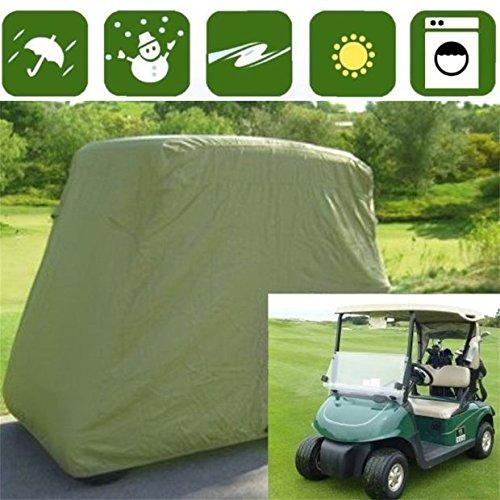 Burrby 2/4 Beifahrer-Golfwagen-Abdeckung, wasserdicht, staubabweisend, sonnendichtes Material, passend für alle Standard 2 Beifahrer EZ GO, Club Car und Yamaha Golfwagen (Taupe) - Taupe - 2 Passenger (Yamaha Golf Cart Parts)