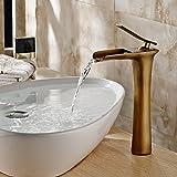 Hiendure Laiton Salle de bains Waterfall Sink mitigeurs Élevé Robinet, laiton antique