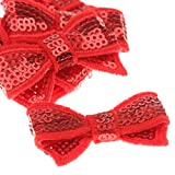 Magideal Fabric Sequin Bow Tie Iron-On B...