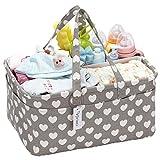 Hinwo Baby Windel Caddy 3-Compartment Infant Nursery Tote Aufbewahrungsbehälter Tragbare Organizer Neugeborenen Dusche Geschenkkorb mit abnehmbarem Teiler 10 unsichtbaren Taschen für Windeln (Heart)