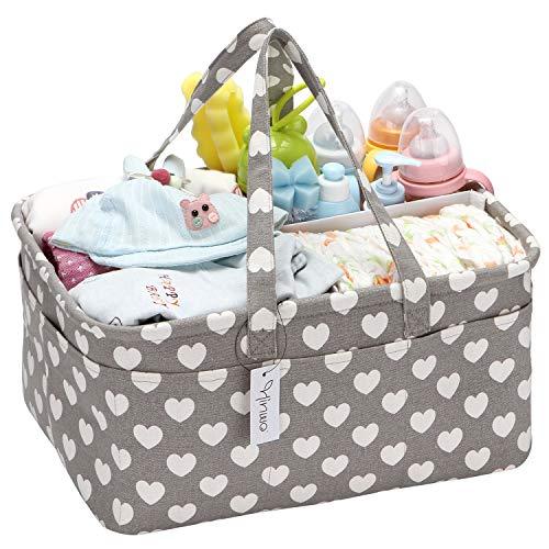 Hinwo Baby Diaper Caddy Recipiente de Almacenamiento Infantil de 3 Compartimentos Recipiente de Almacenamiento...