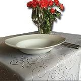 JEMIDI Tischdecke Ornamente Seidenglanz Edel Tisch Decke Tafeldecke 31 Größen und 7 Farben Creme Oval 130x220 - 4