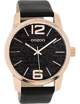 Oozoo Damenuhr mit Lederband 43 MM Rose/Schwarz/Schwarz C9094