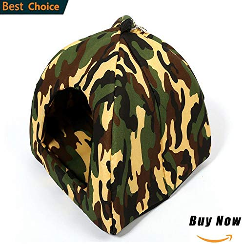 GZXYYY Soft Cat House Foldable Leopard Strawberry Dog Bed Animal Cave Nest Puppy Dog Kennel Cute Pet Cat Dog House M,g