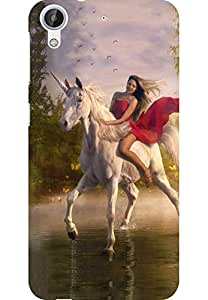 AMEZ HTC Desire 626 High Quality Printed Back Case (Girl Riding Horse)