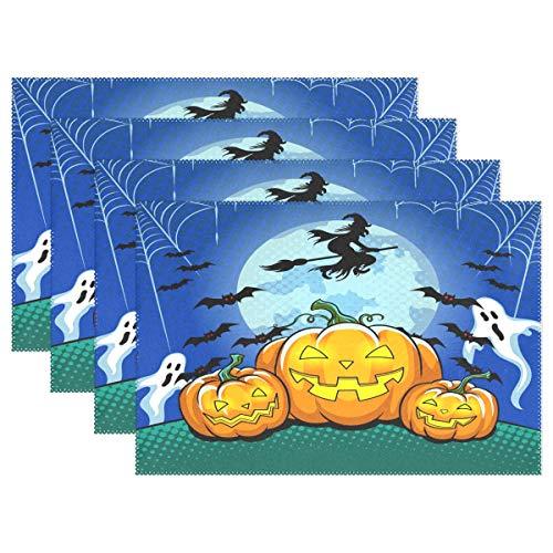 (WAMIKA Halloween Kürbis Tischsets für Esstisch Set 1, Hexe Gost Bat Küche Tisch Matten waschbar hitzebeständig schmutzabweisend rutschfeste Tisch-Sets 30,5x 45,7cm leicht zu reinigen, Polyester-Mischgewebe, multi, 12x18 inch)