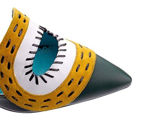 Beauqueen Gattino pompa del tacco-Toe estive in pelle cinturini alla caviglia Tie donne eleganti scarpe casual Work Europe formato 34-39 suit