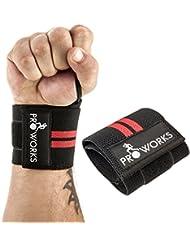 Proworks Bracelet Sangle de support haltérophilie musculation ajustable pour poignée Taille Unique Noir (Vendu Par Paire)