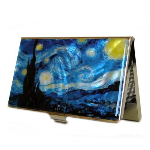Mother of Pearl Starry Night by Van Gogh Art Painting Design Business Credit Name Card Holder Case Metal Stainless Steel Engraved Slim Purse Pocket Cash Money Wallet by Antique Alive (Slim Pocket Zwei Wallet)