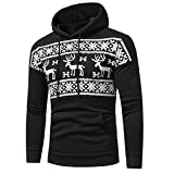 ZEZKT-Herren Weihnacht Kapuzenpullover mit Schnee Muster | Hoodie Pullover Strickjacke Winter-Jacke Sweatshirt (Schwarz-L)