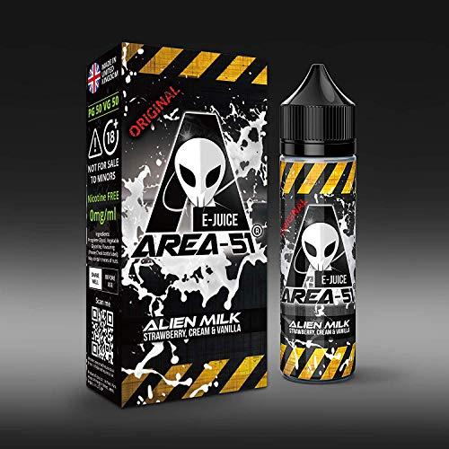 Area 51 e-Liquid Alien Milk Strawberry, Cream & Vanilla, Shake-and-Vape für Ihre e-Zigarette, 0.0 mg Nikotin, 50 ml