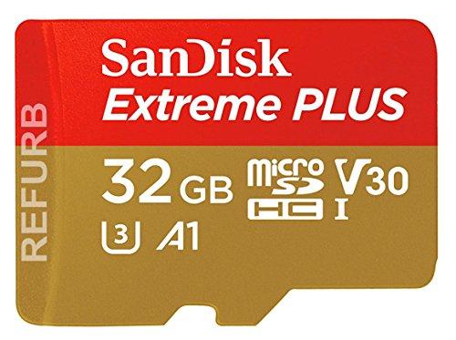 SanDisk Extreme PLUS 32 GB microSDHC Speicherkarte + SD-Adapter bis zu 100 MB/Sek., Class 10, U3, V30, A1 (Generalüberholt) (Micro Sd 32 Gb Extreme)