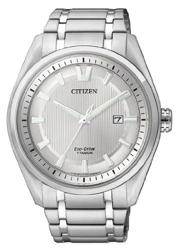 Citizen super titanium aw1240-57a - orologio da polso da uomo, cinturino in titanio colore argento