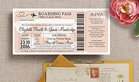 Personalised Boarding Pass/Ticket Destination Wedding Invitations with Envelopes (Pack of 20)