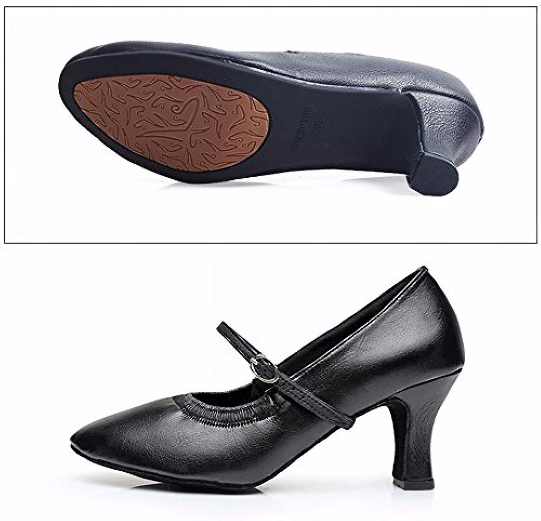 xiao123 Weibliche Erwachsene Lateinische Schuhe Moderne Freundschaft Weiche Untere Schuhe im Freien 7cm Schwarzö