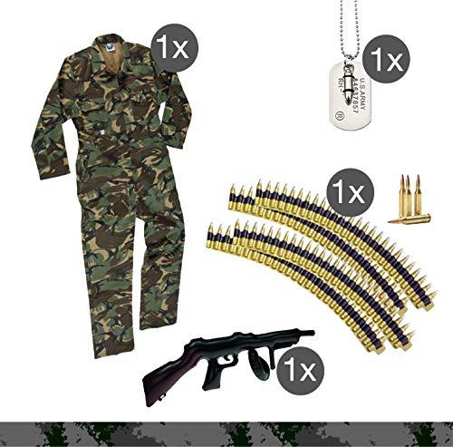 Soldat Kostüm Set mit Anzug camouflage Munitionsgürtel, Patronengürtel Kette Patronenhülsen, Erkennungsmarke Hundemarke Kette für Fasching Karneval Soldat Rambo Armee (Kostüm Soldat)