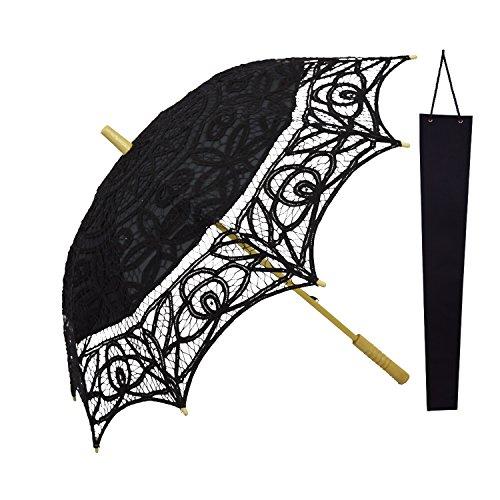 KAKOO Braut Regenschirm Bestickte Spitzenschirm 76cm Groß für Hochzeit Foto Requisiten Garten Party Deko mit Schutzhülle (Schwarz) (Schwarzen Und Weißen Strand Bälle)