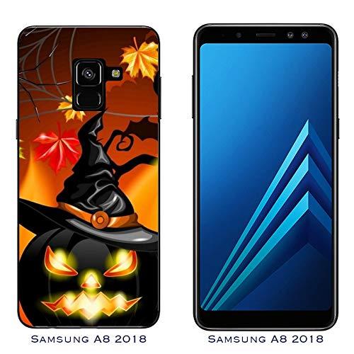 Hülle Galaxy A8 (2018) Case Samsung Galaxy A8 (2018) Halloween furchtsamer Kürbis/Cover Druck auch an den Seiten/Anti-Rutsch Anti-Rutsch Anti-Scratch Schock-resistenten Schutz Schutzulle Starre