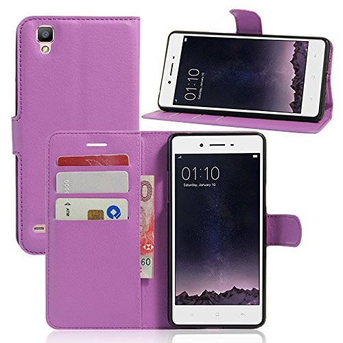 Tasche für OPPO F1 (5 zoll) / OPPO A35 Hülle, Ycloud PU Ledertasche Flip Cover Wallet Case Handyhülle mit Stand Function Credit Card Slots Bookstyle Purse Design lila