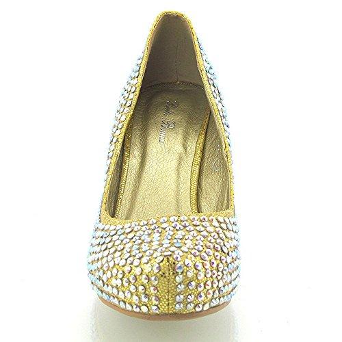 Essex Glam - Glitter Schuhe Mit Mittelhohem Kitten-Absatz Für Damen Braut Hochzeit Abschlussball Party Gold Glitzer